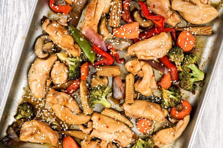 Sheet Pan Asian Chicken Stir Fry makes a quick and easy weight watchers meal.