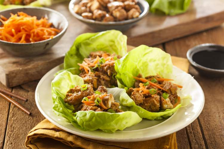 Slow Cooker Korean Chicken Thighs in lettuce wraps.