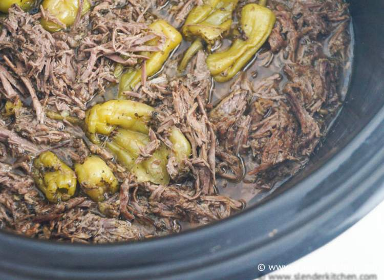 Slow Cooker Pepperoncini Beef in a crockpot.