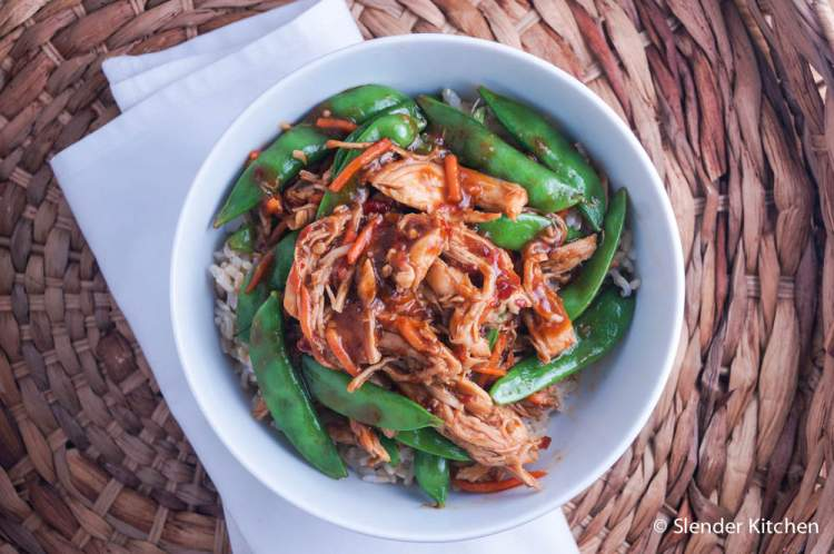 Slow Cooker Spicy Hoisin Chicken Thighs and Snap Peas