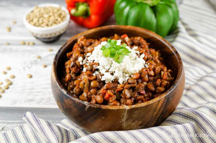 Slow Cooker Tuscan Lentil Sloppy Joes in a wooden bowl make a delicious crockpot Italian meal.