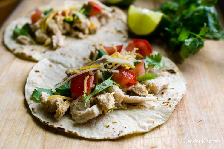 Healthy Taco recipes with chicken like this stove top shredded chicken taco.