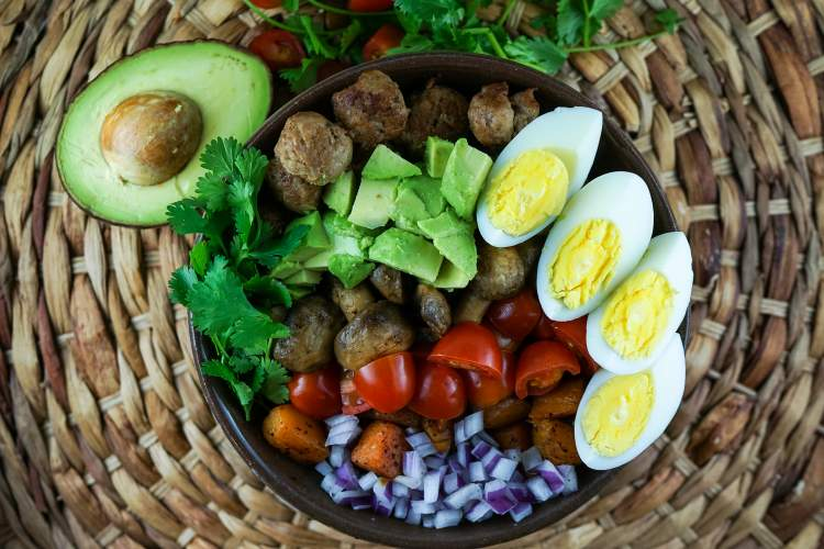 Whoel30 Breakfast Salad with Sausage.