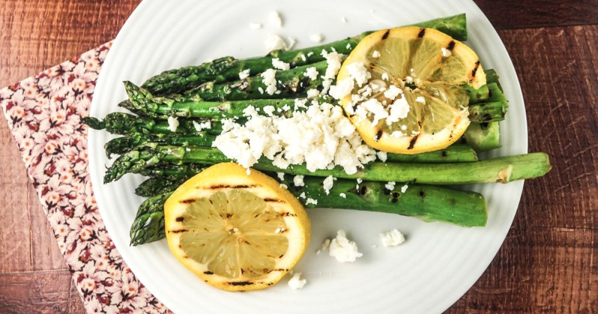 Grilled Lemon Asparagus with Feta