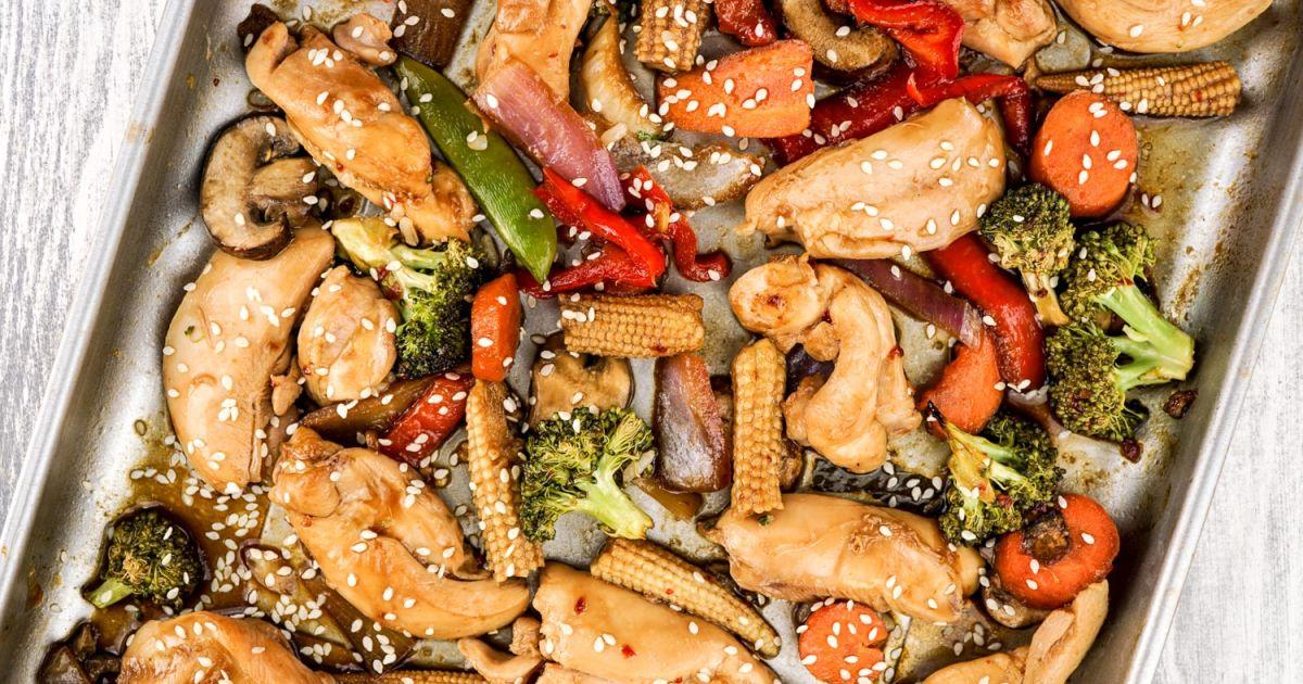Sheet Pan Asian Chicken Stir Fry Slender Kitchen