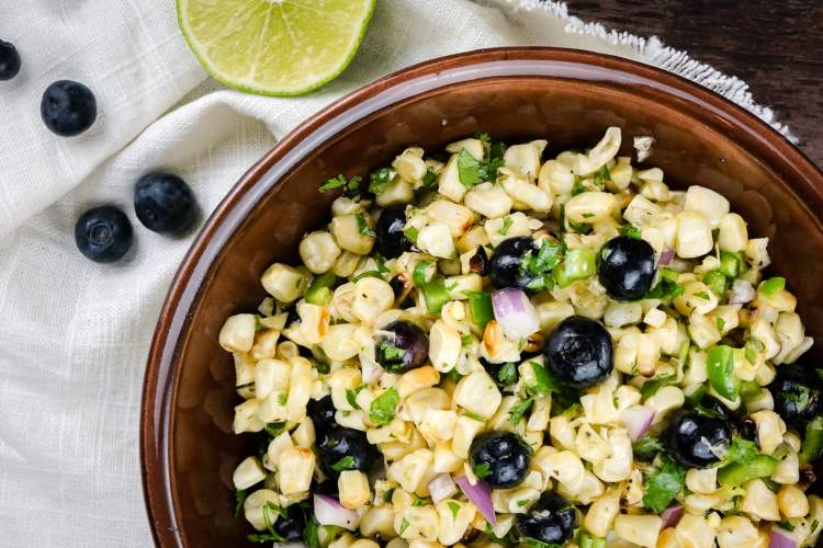 Blueberry Corn Salad with Honey Lime Vinaigrette