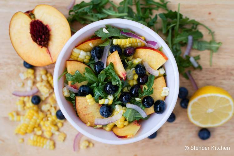 Blueberry, Nectarine, and Corn Salad with Arugula