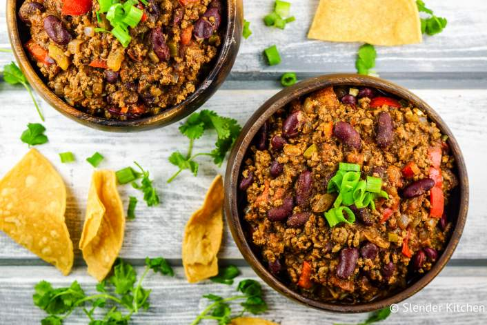 Easy Turkey Chili that is ready in about 30 minutes and packed with flavor. Plus it's gluten free and only 1 Weight Watchers SmartPoint.
