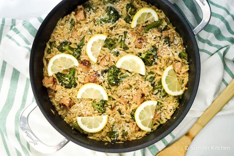 Lemon Orzo with Broccoli and Chicken Sausage that's all cooked in one pan for an easy, healthy dinner that is comforting and full of flavor. All for under 400 calories and just 9 Weight Watchers SmartPoints.