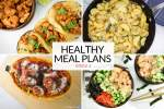 Healthy meal plan with soft tacos, spaghetti squash, gnocchi, and sushi bowls.