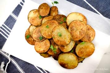 These Baked Potato Chips are baked in the oven until they are crispy and crunchy for a healthier version of traditionally fried chips. Season them up any way you like for a homemade potato chip that is good for you, easy to make, and seriously tasty.