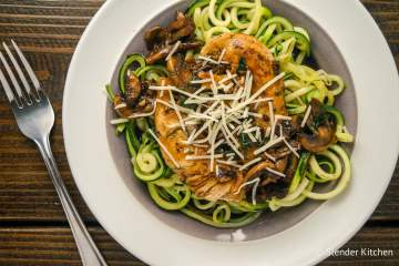 Balsamic Chicken with Garlic Zucchini Noodles and Mushrooms is ready in less than thirty minutes and is a dinner everyone will love. With under 300 calories, it's good for you, low carb, and even Paleo and Whole30 friendly. More importantly, it tastes amazing and will leave you licking your plates.