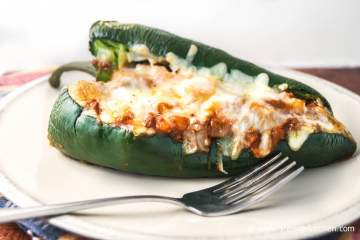 Cheesy Chicken and Cauliflower Stuffed Poblano Peppers