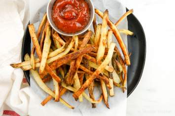 Turnip fries that taste just as good as your favorite crispy french fries but with fewer carbs and baked in the oven for a healthy, low carb side dish.