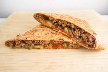 Grilled Cheeseburger Wraps stuffed with lean ground beef, onions, cheese, and all the fixings for a quick and healthy dinner.