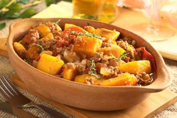 Ground Turkey and Butternut Squash Skillet with Feta