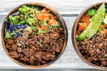 Vegetarian Korean Bowls are filled with veggies, edamame, vegetarian ground meat, and a delicious sweet and spicy Korean sauce for the ultimate vegetarian meal.