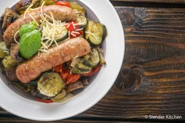 One Pan Roasted Italian Sausage, Tomatoes, and Zucchini