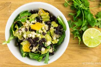 Mexican Quinoa, Black Bean, and Corn Salad with Creamy Avocado Dressing