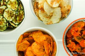 Microwave Veggie Chips made with sweet potatoes, zucchini, carrots, or regular potatoes for a healthy, crunchy snack ready in minutes.