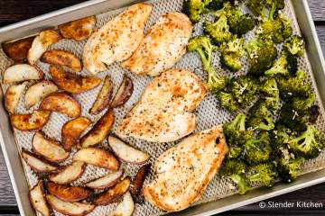Roasted Chicken and Potatoes with Broccoli is made on one sheet pan in just 30 minutes for a healthy, complete meal that your family will love. There's truly nothing better than crispy potatoes, garlicky chicken, and nutty roasted broccoli for an easy weeknight dinner.