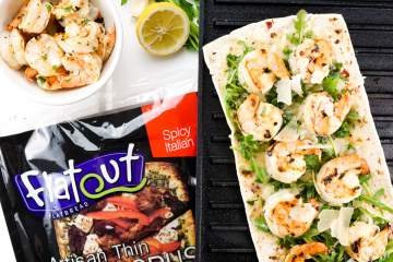 Shrimp Scampi Flatbread is a lightened up, healthier way to enjoy shrimp scampi on a pizza! Packed with lemony shrimp, garlic, and cheese.