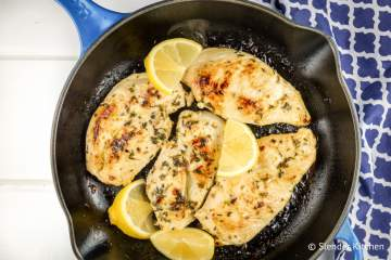 This simple four ingredient Skillet Lemon Oregano Chicken couldn't be easier and has so much delicious Greek flavor.