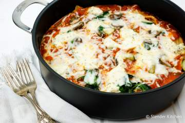 A veggie packed Stovetop Spinach and Mushroom Lasagna that is surprisingly light and healthy for a typically heavy Italian meal.
