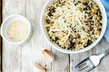 Slow Cooker Garlic Mushroom Quinoa is a creamy, cheesy vegetarian meal or side dish that's packed with veggies and full of flavor.