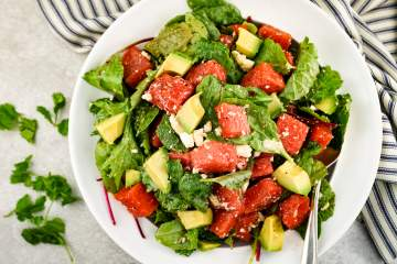 Watermelon and Avocado Salad with Honey Lime Vinaigrette