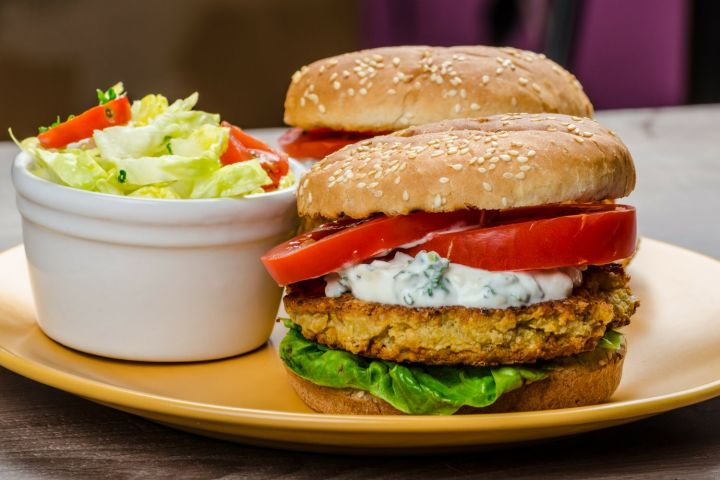 Chickpea Feta Burgers are packed with chickpeas, feta, and carrots for a delicious vegetarian burger that's full of flavor, fiber, and protein.