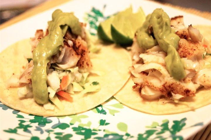 Fish Tacos and Avocado Cream