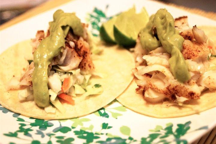 Low Carb Fish Tacos with Avocado Cream
