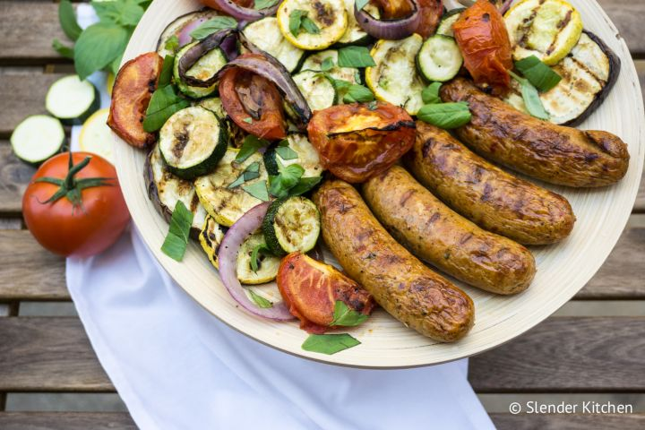 Grilled Vegetarian Sausages and Vegetables