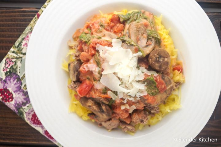 """Low Carb Creamy Tomato, Mushroom, and Spinach """"Pasta"""""""