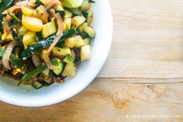 Zucchini & Poblano Pepper Saute