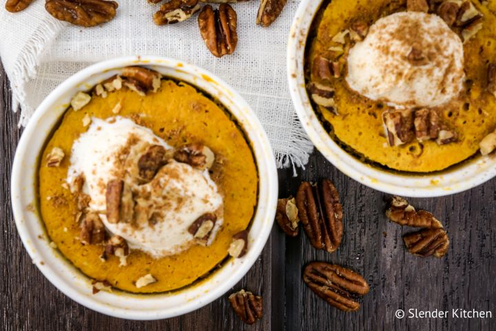 Microwave Pumpkin Custard that's ready in five minutes, tastes just like your favorite pumpkin pie filling, and has under 150 calories.