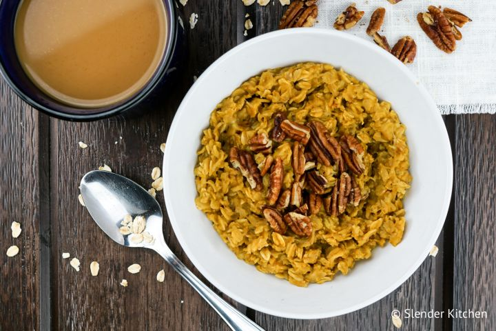 Pumpkin Pie Oatmeal combines all the flavors of a classic pumpkin pie filling into a healthy breakfast that is ready in five minutes.
