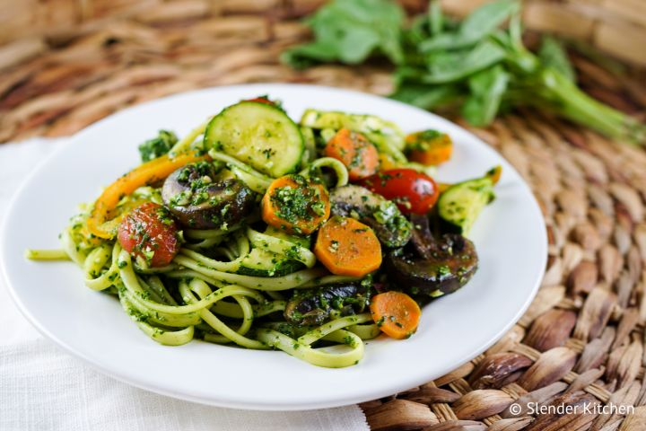 Pasta Primavera with Spinach Pesto