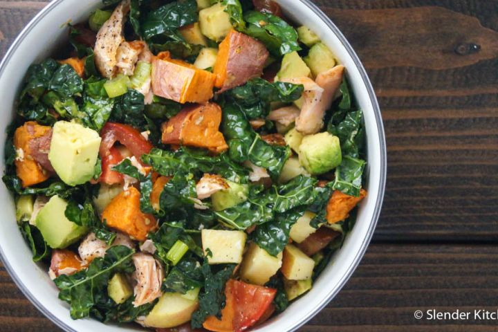 Salmon, Butternut Squash, and Avocado Kale Salad