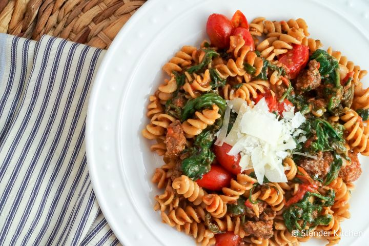 Sausage, Spinach, and Cherry Tomato Pasta Arrabiata