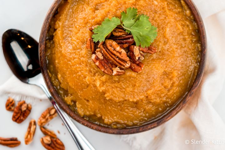 Slow Cooker Brown Sugar Butternut Squash is the easiest way to make creamy, delicious mashed butternut squash without roasting or boiling.
