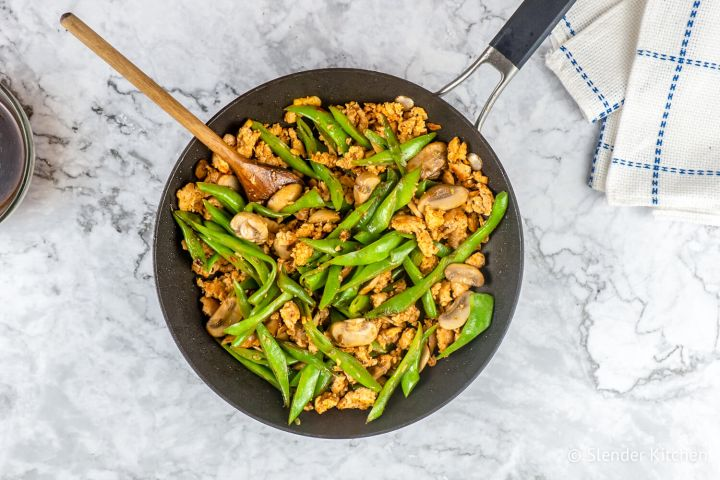 Spicy Turkey, Green Bean, and Mushroom Stirfry