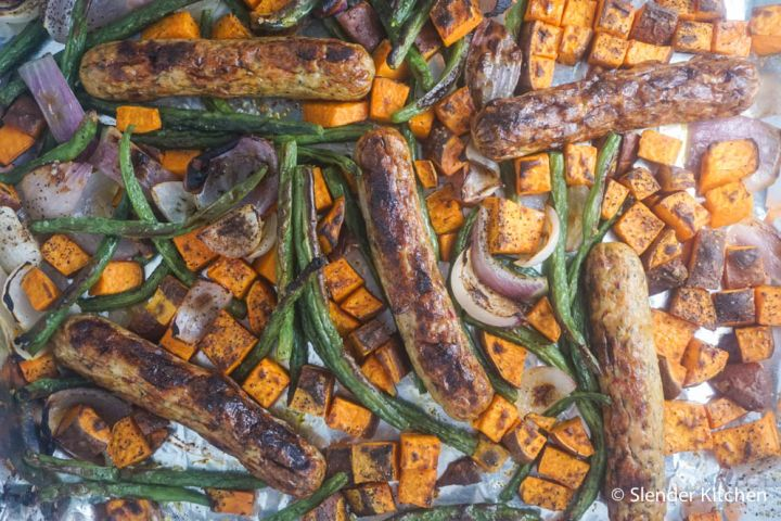 One Pan Chicken Sausage, Butternut Squash, and Green Beans