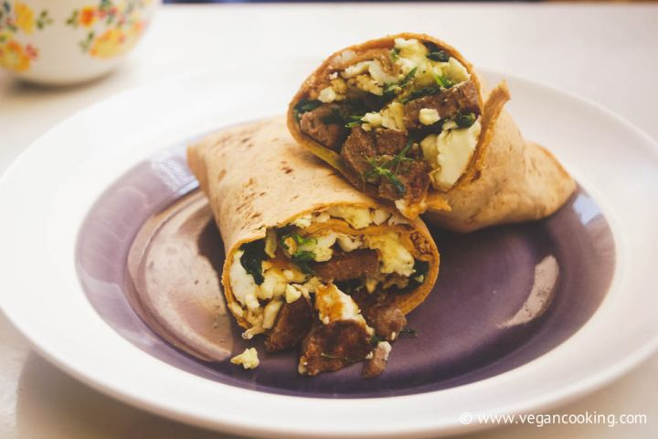 Vegetarian Sausage, Spinach, and Egg White Wraps