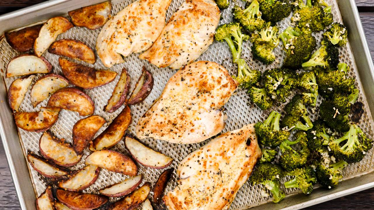 Roasted Chicken and Potatoes with Broccoli - Slender Kitchen
