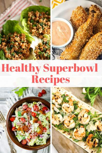 Healthy football recipes including chicken tenders, pasta salad, pizza, and more.