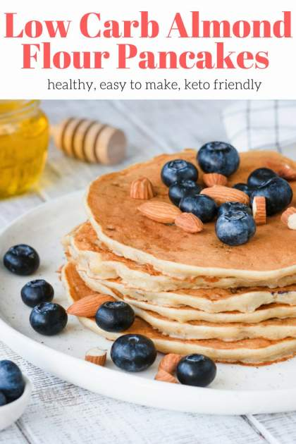 Low Carb Almond Flour Pancakes with 10 grams of protein work for low carb, keto, and paleo diets.  These easy keto pancakes are fluffy, filling, and can be flavored all different ways with your favorite fruits, nut butters, and toppings.