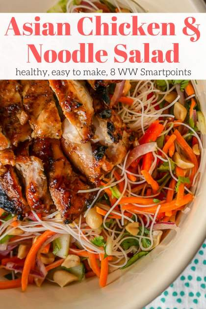 Asian Noodle Salad with Broiled Hoisin Chicken Thighs is like a spring roll in a bowl with the most amazing honey soy dressing all topped and broiled chicken for protein. This easy meal comes together in no time and is great for meal prep.