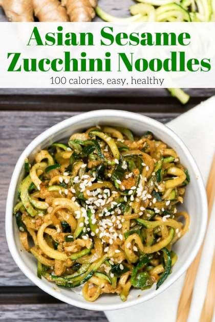 Asian Zucchini Noodles are a Whole30 and Paleo friendly way to enjoy your favorite Asian noodles without the guilt. Made with ginger, garlic, coconut aminos, and sesame seeds this noodles couldn't be more delicious.